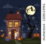 halloween night city landscape... | Shutterstock .eps vector #1208115961