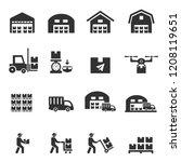 warehouse icon vector | Shutterstock .eps vector #1208119651