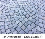 gray old rock cobble pavement... | Shutterstock . vector #1208123884
