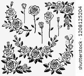 collection of roses on a white... | Shutterstock .eps vector #1208125204