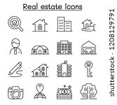 real estate icon set in thin... | Shutterstock .eps vector #1208129791