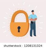 man in security guard suit is... | Shutterstock .eps vector #1208131324