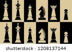 set of chess pieces on... | Shutterstock .eps vector #1208137144
