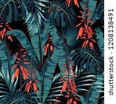 seamless pattern vector floral... | Shutterstock .eps vector #1208138491