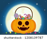 halloween candies in pumpkin... | Shutterstock .eps vector #1208139787