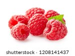 raspberry with leaves | Shutterstock . vector #1208141437