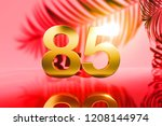 gold isolated number 85 on red... | Shutterstock . vector #1208144974