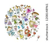 cute little fairies collection  ... | Shutterstock .eps vector #1208148961
