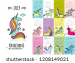 cute unicorns. calendar 2019 | Shutterstock .eps vector #1208149021