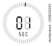 the digital timer 1 second ... | Shutterstock .eps vector #1208152231