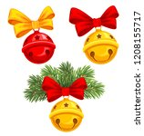 christmas jingle bells with bow ... | Shutterstock .eps vector #1208155717