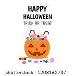 halloween pumpkin bucket with... | Shutterstock .eps vector #1208162737