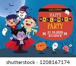 vintage halloween poster design ... | Shutterstock .eps vector #1208167174