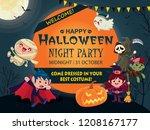 vintage halloween poster design ... | Shutterstock .eps vector #1208167177
