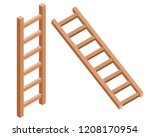 set of brown stairs on a white... | Shutterstock .eps vector #1208170954