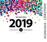 colorful circles new year... | Shutterstock .eps vector #1208195044
