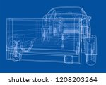 sedan with open trailer sketch. ... | Shutterstock .eps vector #1208203264