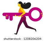 running woman holding giant key.... | Shutterstock .eps vector #1208206204