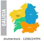 colorful galicia administrative ... | Shutterstock .eps vector #1208224594