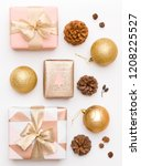 pink and gold christmas gifts...   Shutterstock . vector #1208225527