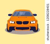 orange german car vector | Shutterstock .eps vector #1208228401