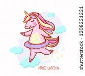 a pleasant magical unicorn...   Shutterstock .eps vector #1208231221