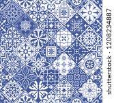 big set of tiles in portuguese... | Shutterstock . vector #1208234887