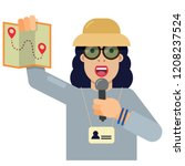 tourist guide with explanations ... | Shutterstock .eps vector #1208237524