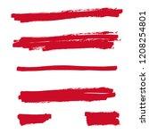red highlighter marker strokes. ... | Shutterstock .eps vector #1208254801