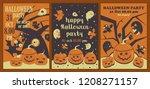 set of halloween posters.... | Shutterstock .eps vector #1208271157