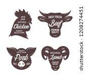 butchery logo templates. farm... | Shutterstock .eps vector #1208274451