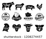 set of vector butchery logo.... | Shutterstock .eps vector #1208274457