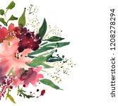 watercolor flowers in frame ... | Shutterstock . vector #1208278294