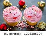 miss piggy cupcakes   beautiful ... | Shutterstock . vector #1208286304