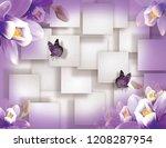 butterflies with violet flowers ...   Shutterstock . vector #1208287954