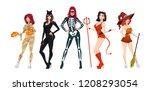 halloween women costumes set.... | Shutterstock .eps vector #1208293054