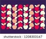red apples pattern. vector... | Shutterstock .eps vector #1208303167
