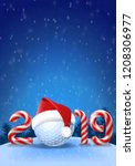 golf ball with santa hat on it  ...   Shutterstock .eps vector #1208306977