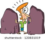 Worried Cartoon Woman Stuck...