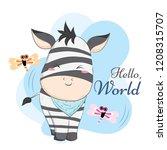 Stock vector baby zebra jail pattern 1208315707