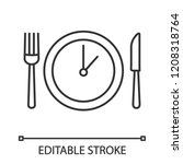 lunch time linear icon. dinner... | Shutterstock .eps vector #1208318764