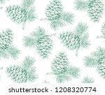 hand drawn pine cone pattern... | Shutterstock .eps vector #1208320774