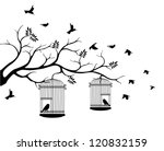 tree silhouette with birds... | Shutterstock .eps vector #120832159