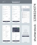 wireframe kit for mobile phone. ... | Shutterstock .eps vector #1208324374