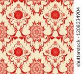 seamless wallpaper pattern.... | Shutterstock .eps vector #1208334904