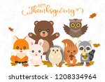 happy thanksgiving and cute... | Shutterstock .eps vector #1208334964