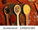 composition of condiment  close ... | Shutterstock . vector #1208341384