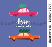 christmas car with fir tree ...   Shutterstock .eps vector #1208341804