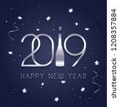 2019 happy new year  silver... | Shutterstock .eps vector #1208357884