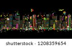 colorful night metropolis ... | Shutterstock .eps vector #1208359654